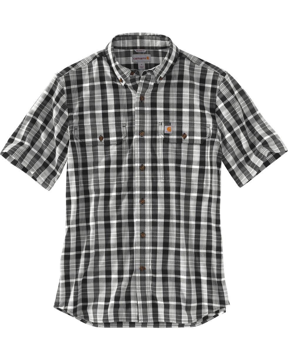 Carhartt Men's Fort Plaid Short Sleeve Shirt , Black, hi-res