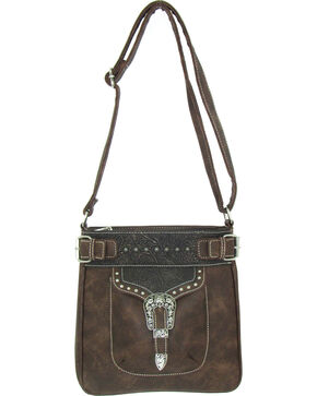 Savana Women's Faux Leather Tote Messenger Bag , Brown, hi-res