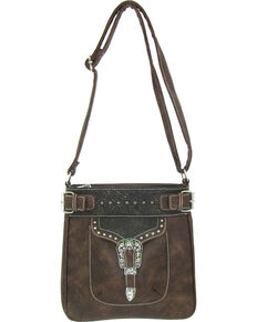 Savana Women's Faux Leather Tote Messenger Bag , Brown, hi-res