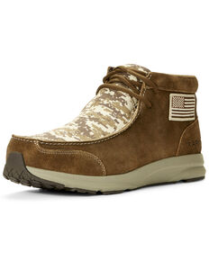 Ariat Men's Spitfire Patriot Camo Print Lace-Up Boots - Moc Toe, Brown, hi-res