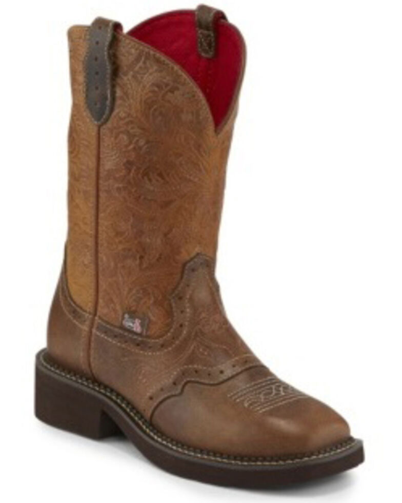 Justin Women's Starlina Tan Western Boots - Square Toe, Brown, hi-res