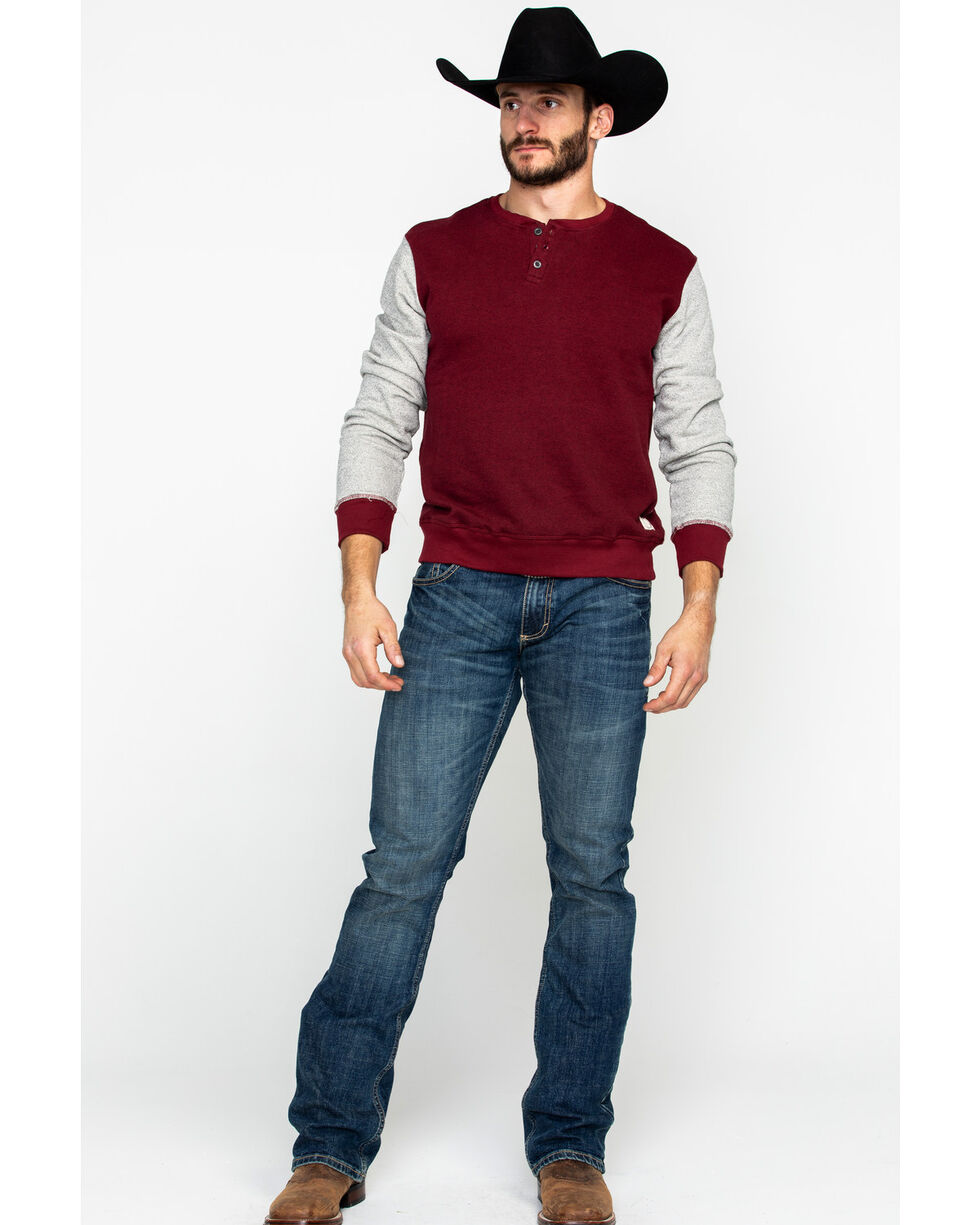 American Republic Men's Cordovan Color Block Henley Long Sleeve Shirt , Heather Red, hi-res