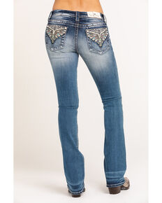 Miss Me Women's Chloe Embellished Aztec Embroidered Bootcut Jeans, Blue, hi-res
