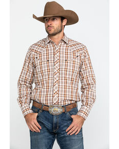 Roper Men's Brown Plaid Longhorn Embroidered Yoke Long Sleeve Western Shirt  , Brown, hi-res