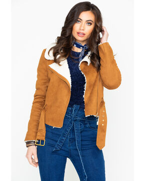 Flying Tomato Women's Faux Suede Sherpa Moto Jacket , Camel, hi-res