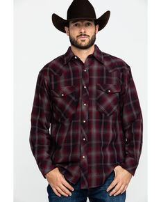 Resistol Men's Palestine Large Ombre Plaid Long Sleeve Western Shirt , Red, hi-res