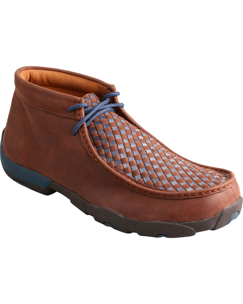 Twisted X Men's Basketweave Driving Mocs, Brown, hi-res