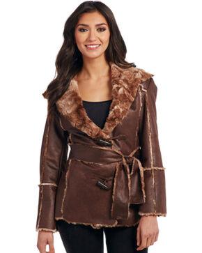 Cripple Creek Women's Tie Front Faux Fur Trimmed Coat, Chestnut, hi-res