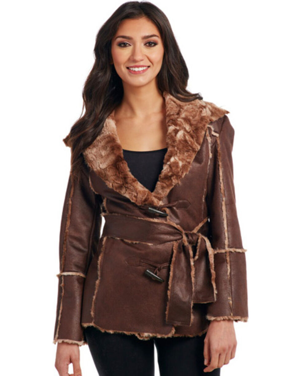Cripple Creek Women's Tie Front Faux Fur Trimmed Coat, Chestnut, hi-res