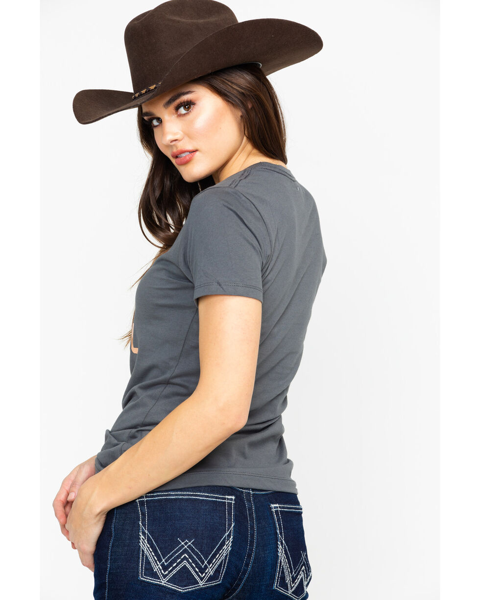Cowgirl Up Women's Whiskey Down Foil Print V-Neck Tee , Charcoal, hi-res