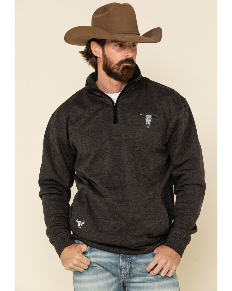 Cowboy Hardware Men's Charcoal Flag Skull Cadet Fleece Pullover Sweatshirt , Charcoal, hi-res