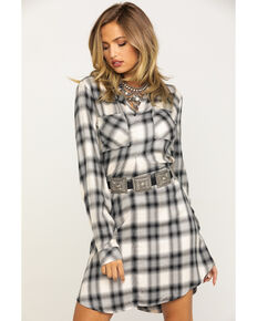Stetson Women's White Plaid Shirt Dress, White, hi-res