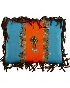 Carstens Turquoise and Orange Feather Medallion Pillow, Turquoise, hi-res