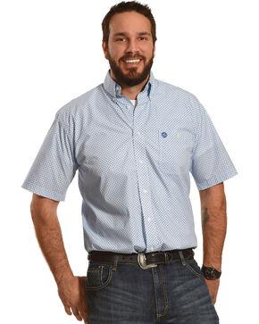 George Strait by Wrangler Men's White Fleur De Lis Short Sleeve Shirt , White, hi-res