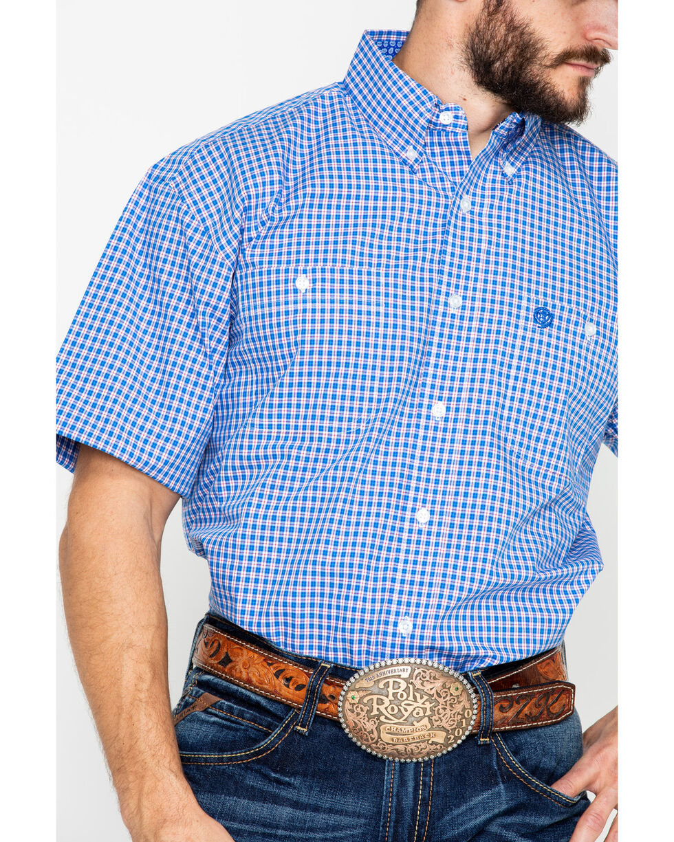 George Strait by Wrangler Small Plaid Short Sleeve Western Shirt , Blue/red, hi-res