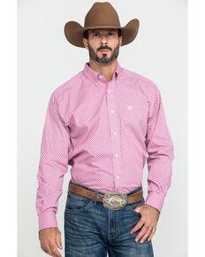 Ariat Men's Wrinkle Free Ipman Small Geo Print Long Sleeve Western Shirt - Tall , Pink, hi-res