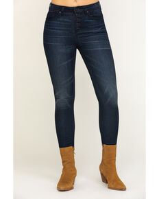 Miss Me Women's High Rise Button Skinny Jeans, Black, hi-res