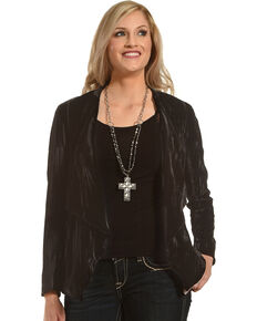 Black Swan Women's Black Juliette Velvet Blazer , Black, hi-res