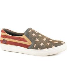 Roper Women's American Beauty Slip On Shoes - Round Toe, Blue, hi-res