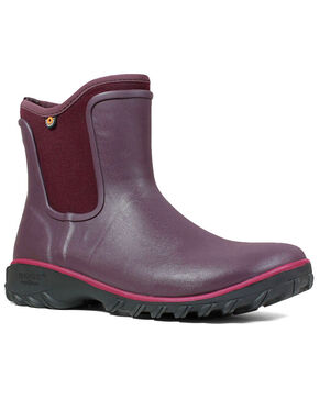 Bogs Women's Sauvie Waterproof Slip-On Boots - Round Toe, Wine, hi-res