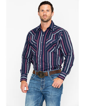 Ely Cattleman Men's Textured Stripe Long Sleeve Western Shirt , Navy, hi-res