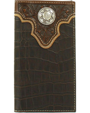 Nocona Men's Croc Print Concho Rodeo Wallet, Brown, hi-res