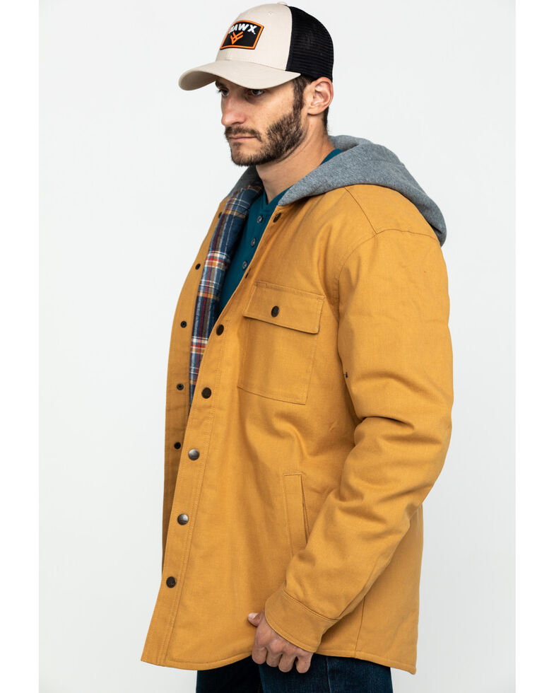 Hawx Men's Khaki Flannel Lined Hooded Canvas Shirt Work Jacket , Brown, hi-res