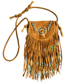 Kobler Leather Rossette Fringe Crossbody Bag, Khaki, hi-res