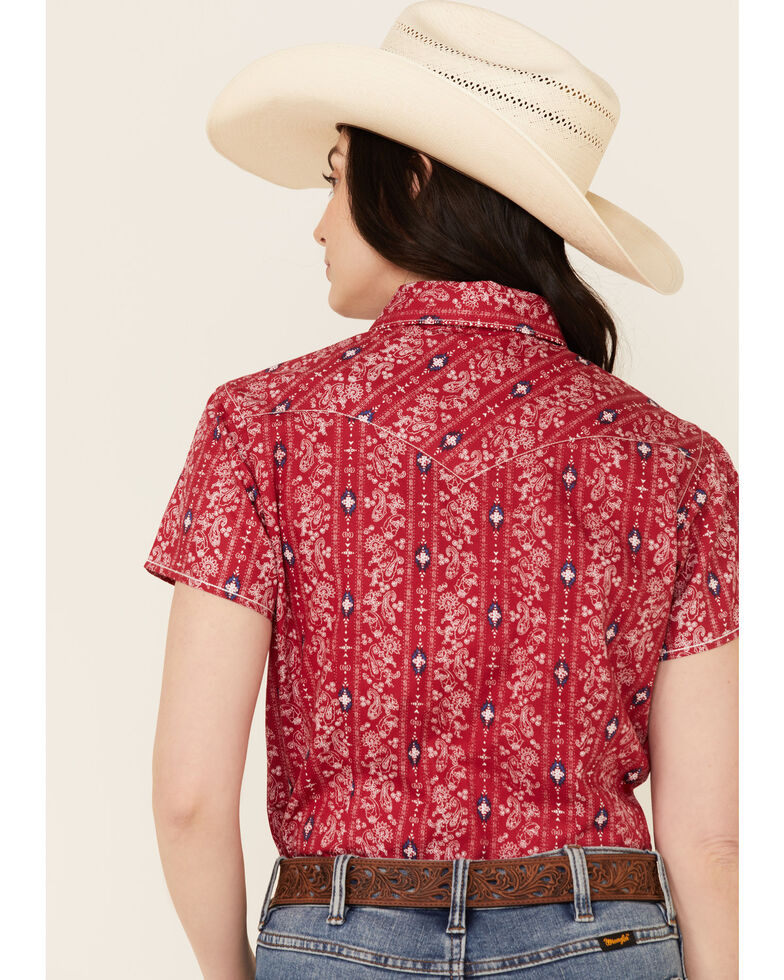 Rough Stock By Panhandle Women's Paisley Aztec Stripe Short Sleeve Snap Western Shirt , Red, hi-res