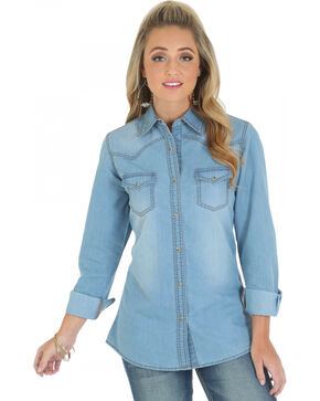 Wrangler Women's Long Sleeve Denim Western Shirt, Stonewash, hi-res