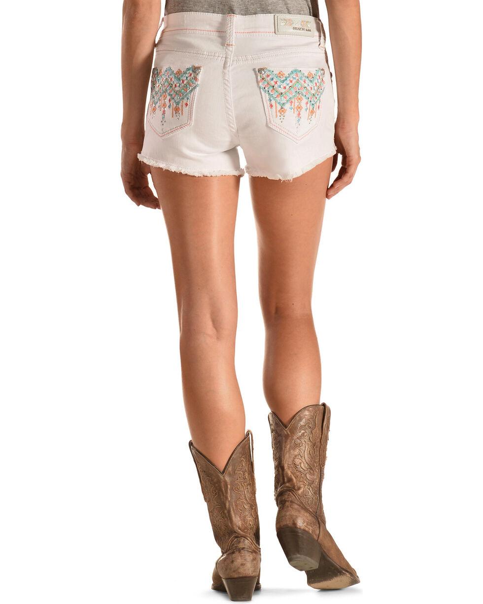 Grace in LA Aztec Stitch White Cutoff Shorts, White, hi-res