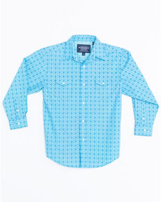 Panhandle Boys' Antique Narodini Snap Long Sleeve Shirt , Blue, hi-res