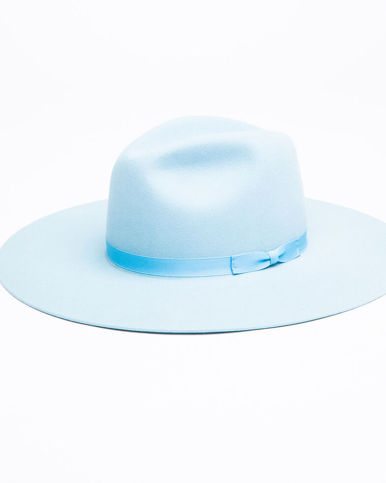 Rodeo King Women's Tracker Powder Blue Fur Felt Western Hat , Light Blue, hi-res