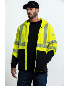 Ariat Men's FR Hi-Vis Full Zip Hooded Work Jacket - Big , Bright Yellow, hi-res