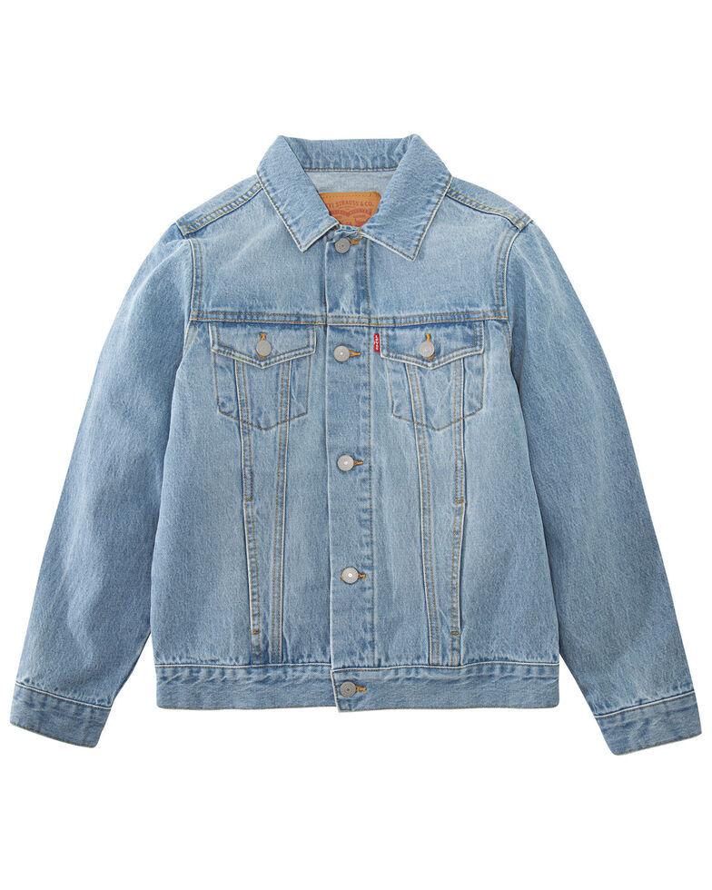 Levi's Boys' Light Wash Denim Button-Down Trucker Jacket , Light Blue, hi-res