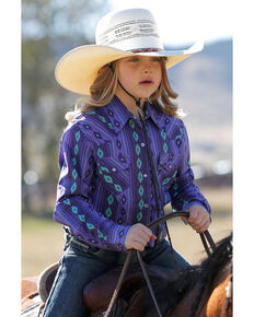 Cruel Girl Girls' Purple Aztec Print Long Sleeve Western Shirt, Purple, hi-res