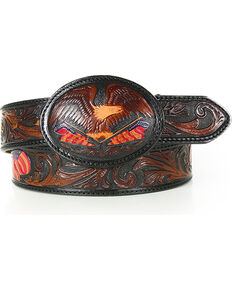 Silver Creek Men's Belt Tooled American Heritage Belt, Brown, hi-res