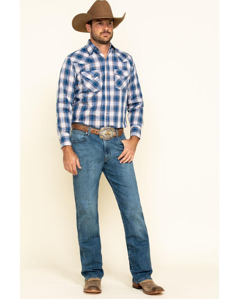 Ely Cattleman Men's Blue Med Plaid Long Sleeve Western Shirt - Tall , Blue, hi-res