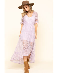 Shyanne Women's Ivory Lace Button Down Hi-Lo Maxi Dress, Lavender, hi-res