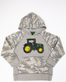 John Deere Boys' Camo Tractor Fleece Hooded Sweatshirt , Grey, hi-res