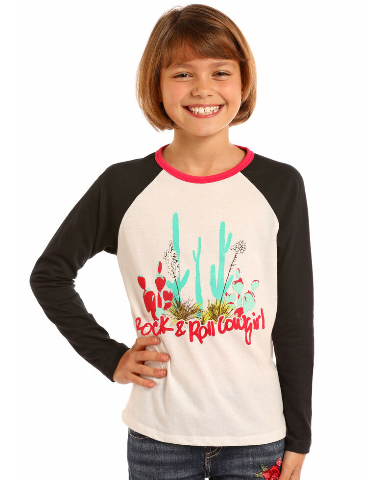 Rock & Roll Cowgirl Girls' Watercolor Cactus Graphic Long Sleeve Baseball Tee  , Ivory, hi-res