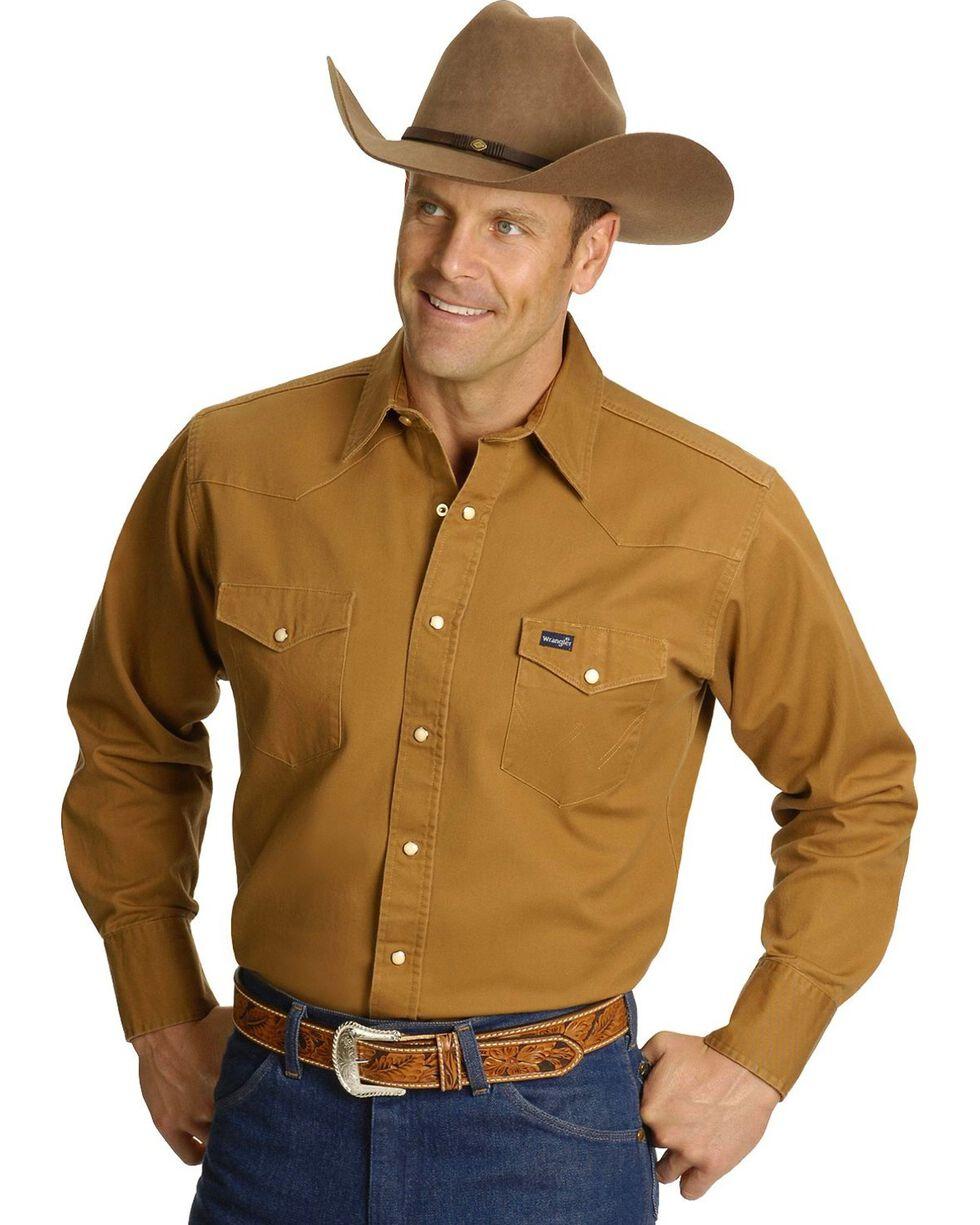 Wrangler Men's Cowboy Cut Firm Finish Long Sleeve Work Shirt, Rawhide, hi-res