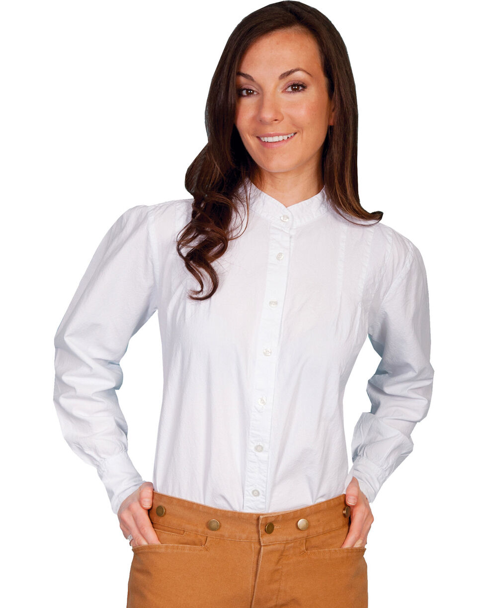 Rangewear by Scully Peruvian Cotton Pleated Front Long Sleeve Top, White, hi-res