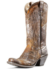 Ariat Woman's Circuit Salem Silver Western Boots - Snip Toe, Brown, hi-res