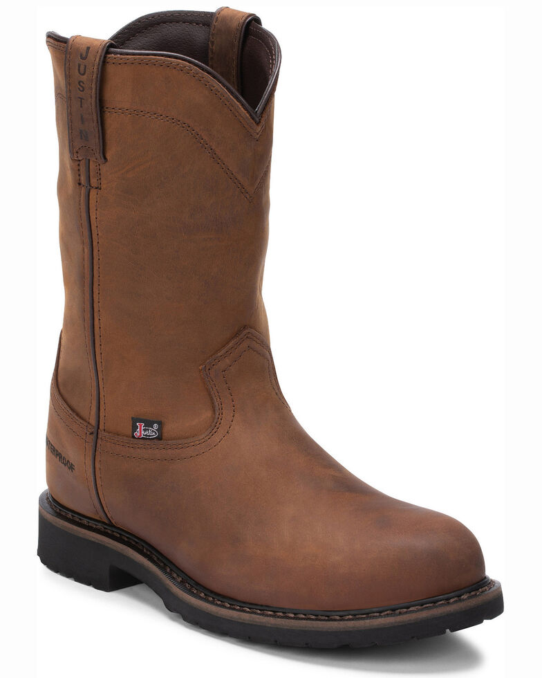 Justin Men's Wyoming Waterproof Western Work Boots - Steel Toe, Brown, hi-res