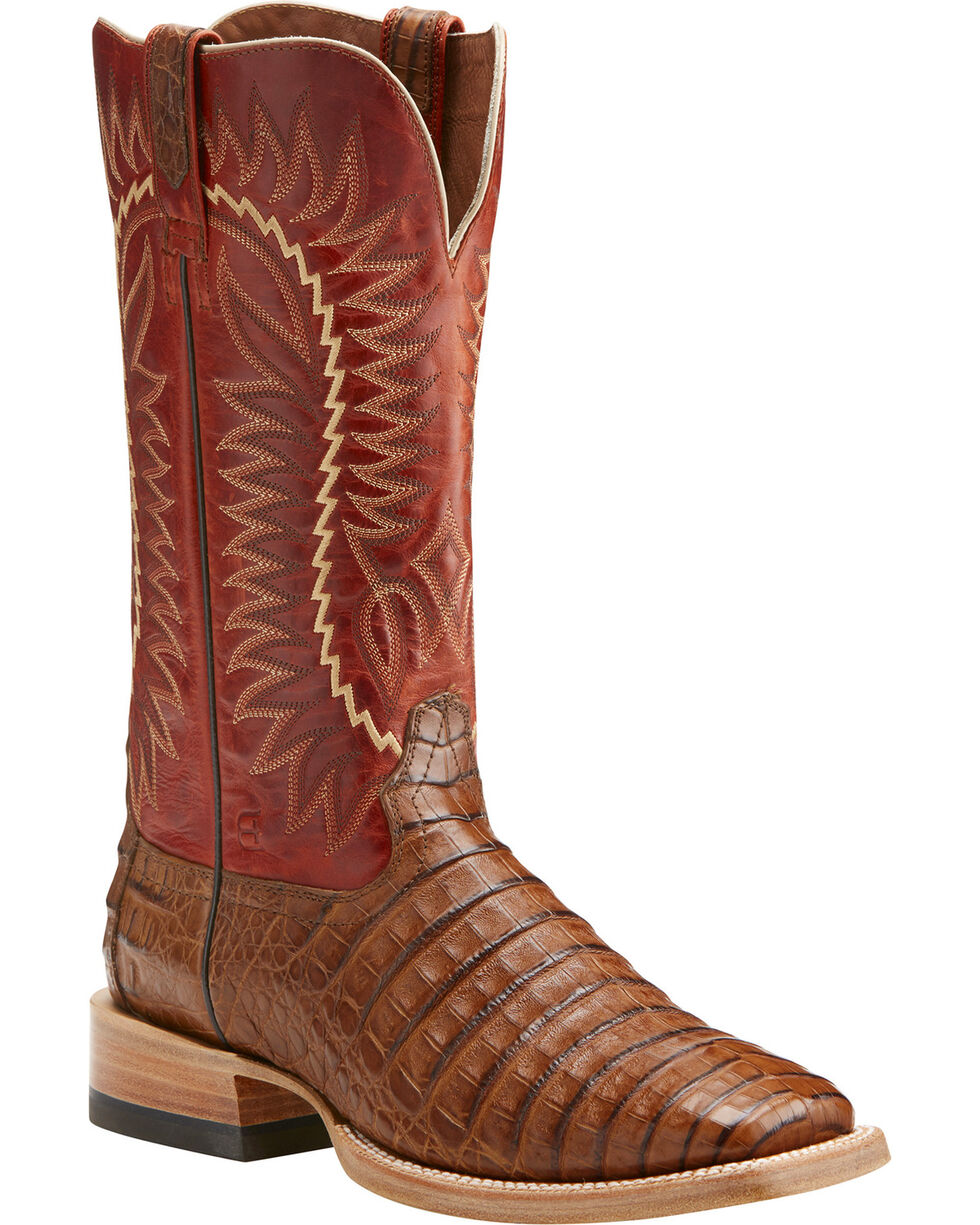Ariat Men's Relentless Gold Buckle Caiman Exotic Boots, Brown, hi-res