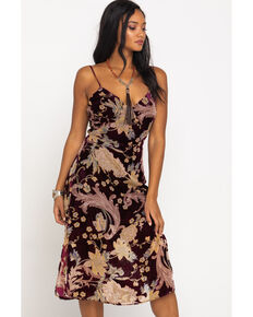 Band of Gypsies Women's Burgundy Burnout Floral Dress, Multi, hi-res