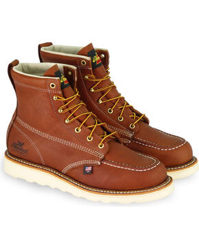 "Thorogood Men's 6"" Moc Toe Lace-Up Work Boots, Tan, hi-res"