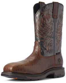 Ariat Men's Workhog Ostrich Print Western Work Boots - Composite Toe, Brown, hi-res