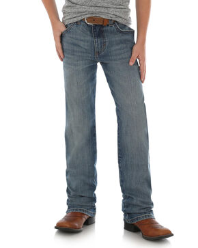 Wrangler Retro Boys' Slim Straight Callahan Stretch Jeans, Blue, hi-res